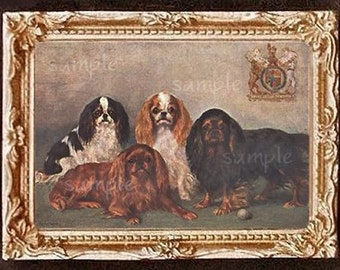 King Charles Spaniel Miniature Dollhouse Art Picture 1501