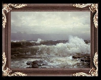 Stormy Seascape Waves Miniature Dollhouse Art Picture 6788