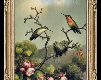 Singing Hummingbirds Miniature Dollhouse Art Picture 4301