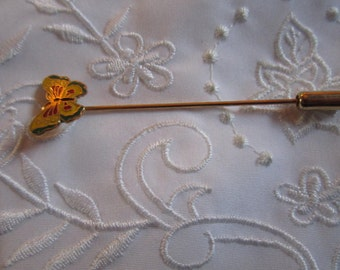 Vintage Butterfly Stick Pin in Gold and Red and Blue
