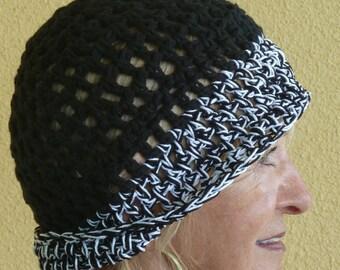 Black Crochet Cotton Hat / Unique Women Accessories / Comfortable Cotton Hat