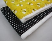 Bee Burp Cloths - Charming Bees and Black Polka Dot Burp Cloth Diapers - Set of Two (6-ply) Premium Embellished Prefolds - Baby Girl
