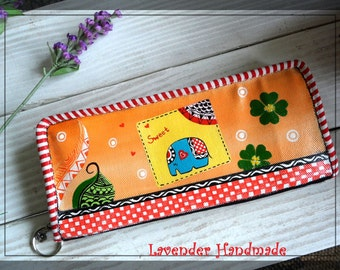Lucky elephant wallt,cute elephant wallet,stylish wallet-Lavender Handmade