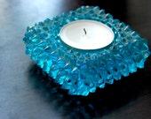 Vintage 70's Aqua Hobnail Glass Votive Candle Holder