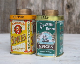 Vintage Tin Salt and Pepper Shaker Set