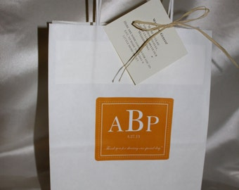 Wedding Welcome Bag Out of Guest Bag with Classic Anthropology Woodland Design Orange and White