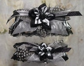 Black and White Kanzashi Flower Zebra Print Garter Set