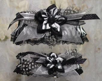 Black and White Kanzashi Flower Zebra Print Garter Set