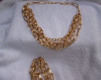 CLEARANCE Big Bold Gold Statement Runway Necklace and Bracelet Set