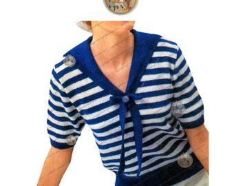Vintage Knitting Pattern Ladies' Sailor Nautical Stripe Sweater - PDF Instant Download - PrettyPatternsPlease
