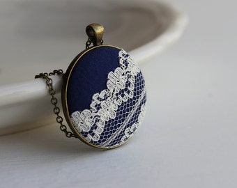 Navy and White Jewelry, Navy Blue and Ivory Wedding Jewelry, Boho Navy Pendant Cotton Anniversary Gift, Ivory Lace Necklace, Unique Jewelry