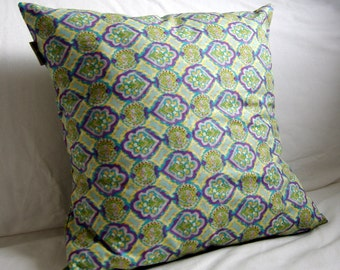 Purple and Green Ikat Cushion Cover