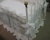 Custom Washed Linen Crib Bedding-Vintage White Washed Linens-Open Weave Washed Linen-Velvet Ribbon Trim Detail