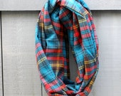 Teal, Red and Yellow Plaid Flannel Infinity Scarf