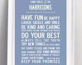 Personalized Personalised Family Rules Print. Large A2 poster