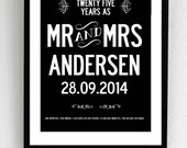 Personalized 25 year wedding anniversary print. A3 luxury poster print.