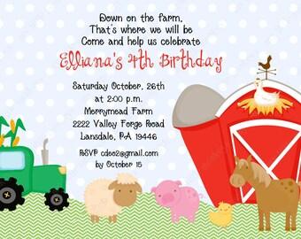 10PRINTED Red Barn Farm Birthday Invitations with Envelopes.  Free Return Address Labels
