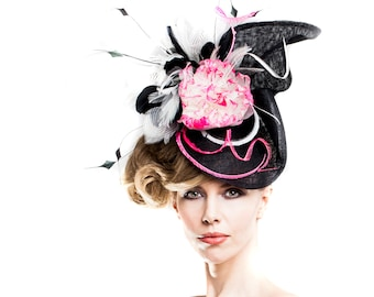 SALE Women's Oversized Hat Fascinator - Black White Neon Pink - Cocktail Royal Ascot - Kentucky  Derby - Wedding Hats - Mother of the Bride
