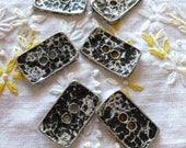 """Vintage Metal Buttons, Silver Pewter Hammered Buttons,  Rectangle Metal buttons, """"8 in lot"""",  Pewter, Solid Metal, Silver Buttons"""