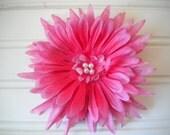 Pink Dahlia Hair Clip