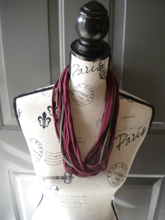 Jersey Scarf Necklace in Burgundy and Olive Green