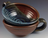 Soup Bowls, Set of 2 Bowls with Handle, Handmade Pottery Bowls in our Tri-Color Glaze