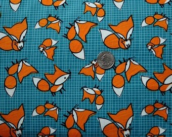 Frolicking Forest, Foxes in blue - 1 yard
