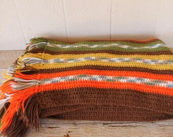 Vintage Afghan Blanket, Fall Colors