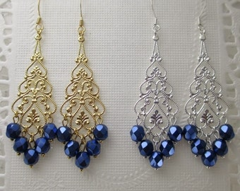 Dark Blue Metallic Bridesmaids Earrings Filigree Teardrop Choice of Gold Silver Chandelier Dangle Earrings Bridal Jewelry Wedding Jewelry