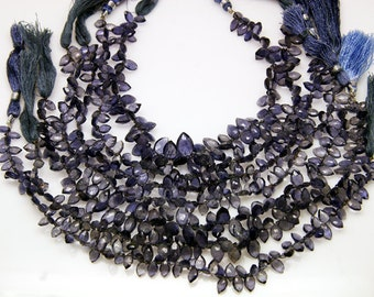 1strand - natural iolite faceted marquise sized 4.7 by 7.1mm