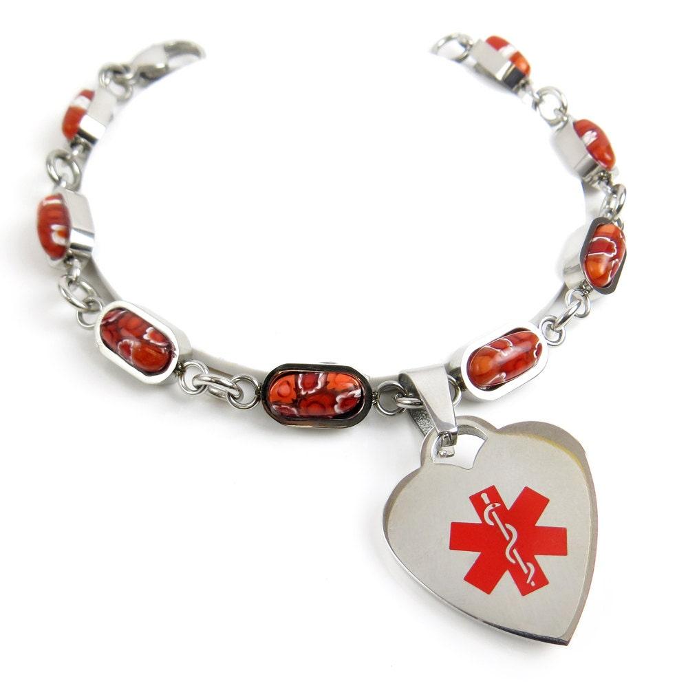 Engraved Medical Charm Bracelet Red Millefiori Glass Red