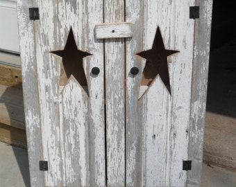 Rustic White Star Cabinet
