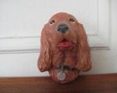 1960s Irish SETTER Head Wall Plaque - vintage chalkware wall hanging, 60s art, figurine,  COCKER SPANIEL dog, canine