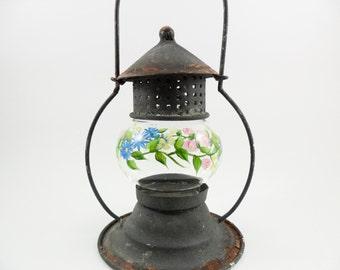 Hand Painted Candle Holder Lantern Glass Tin Antique Black Rust Shabby Chic Flower Garden