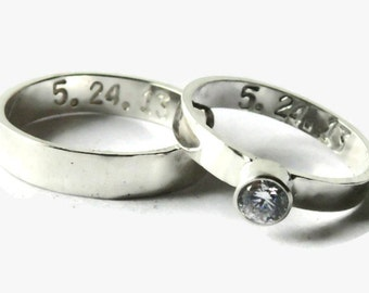 His And Her Wedding Band Set Personalized Sterling Silver Ring Promise Ring Alternative Engagement Ring Matching