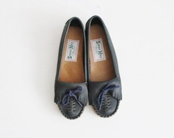Vintage 80s Sioux Mox Tru Stitch Moccasin Flats - Blue Leather - Women 5.5