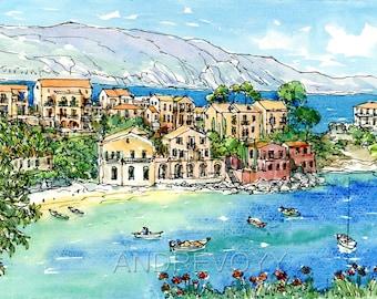 Kefalonia Assos Greece art print from an original watercolor painting