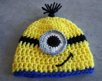 Newborn Size, Crochet, Minion Inspired Hat