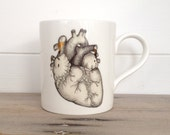 Anatomical Heart Illustration Bone China Mug