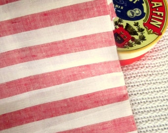 Pure LINEN Red Stripe European ecofriendly fabric sewing table linens supplies from MyGypsyCottage on Etsy