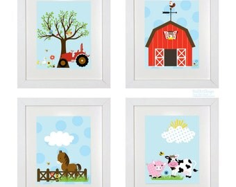Nursery Wall Art Prints Farm Set Cow Horse Fence Barn Tree Pig Wall Prints
