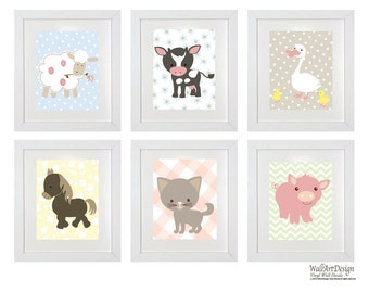 Nursery Wall Art Prints Set of 6 Barn Animals Horse Lamb Cow Duck Pig Kitten Prints