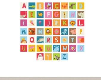 ABC Block Decals Nursery Vinyl Wall Decal Set