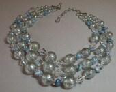 Vintage Blue Rock Lucite Necklace