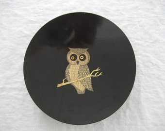 vintage owl bowl by Couroc of Monterey