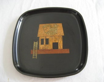 """pair of small """"fish market"""" black resin trays by Couroc of Monterey"""