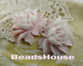34-00- CA 2pcs Pretty Cabbage Rose Cabochon - Crystal Pink ,White