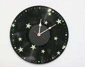 Vinyl Record Wall Clock Stars  Upcycled