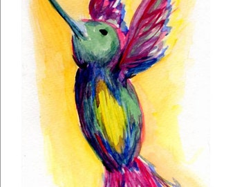 Hummingbird Painting, Hummingbird art, 5 x 7 Water Color Print of my painting titled, Free, of colorful hummingbird