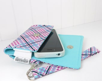 The Errand Runner Cell Phone Wallet, Wristlet for iPhone/Galaxy in Complex Plaid in Lilac/Aqua